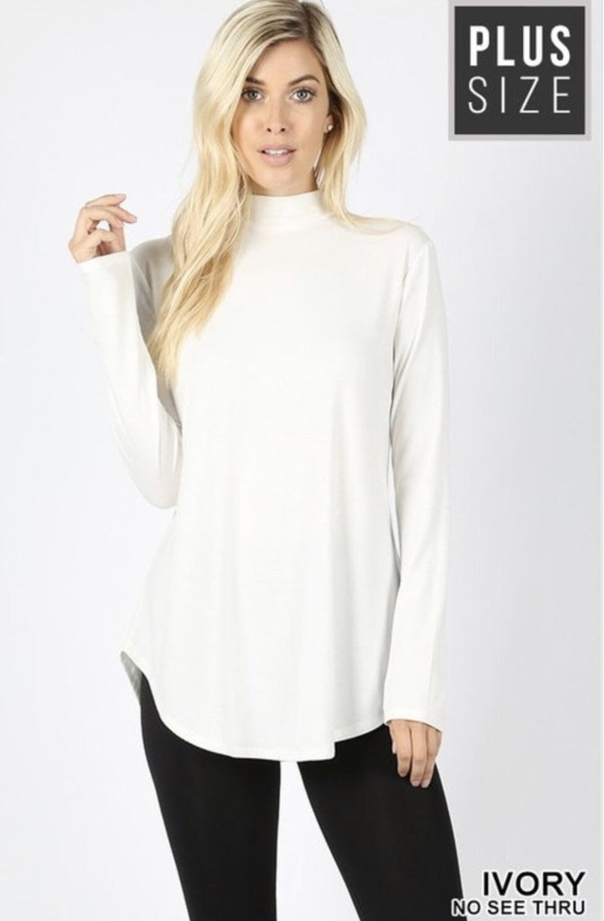 Women's Ivory Mock Neck Plus Size Top - Nico Bella Boutique