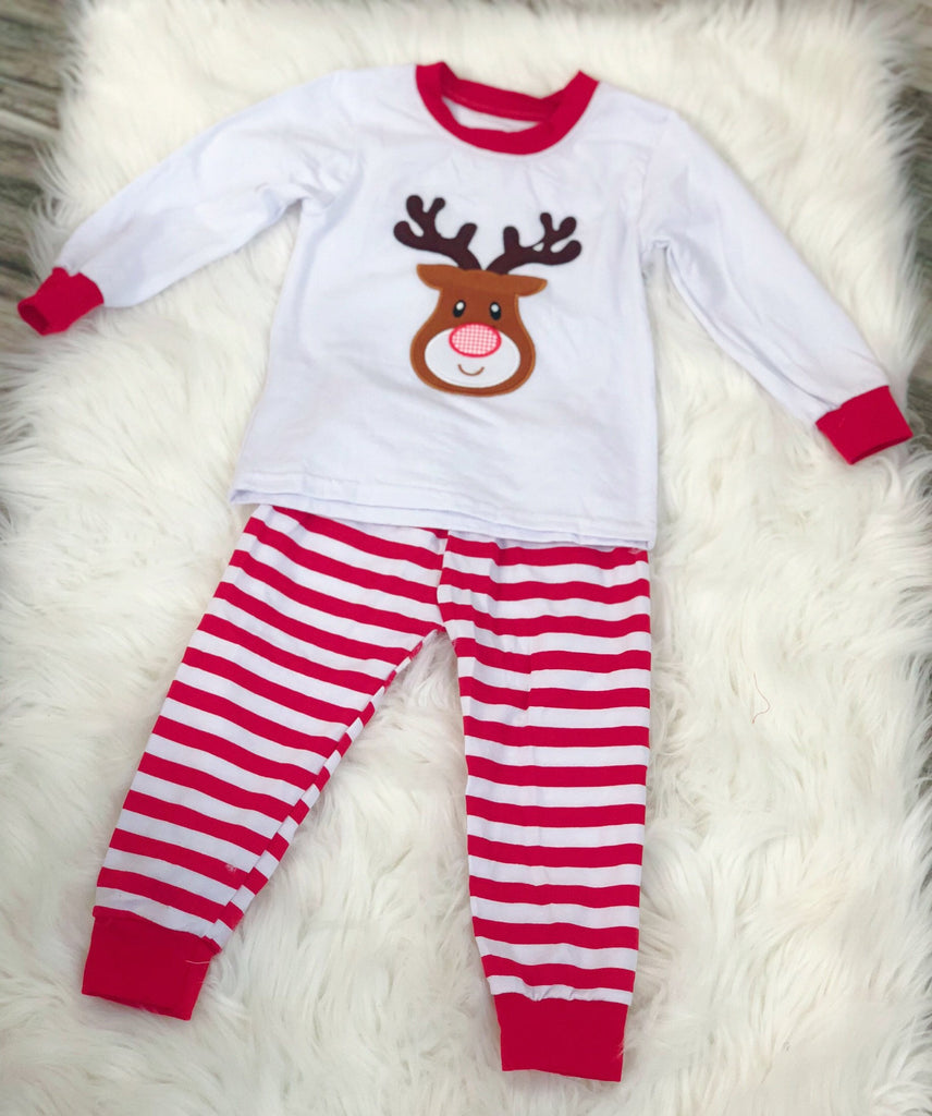 Boys White Deer Pajamas - Nico Bella Boutique