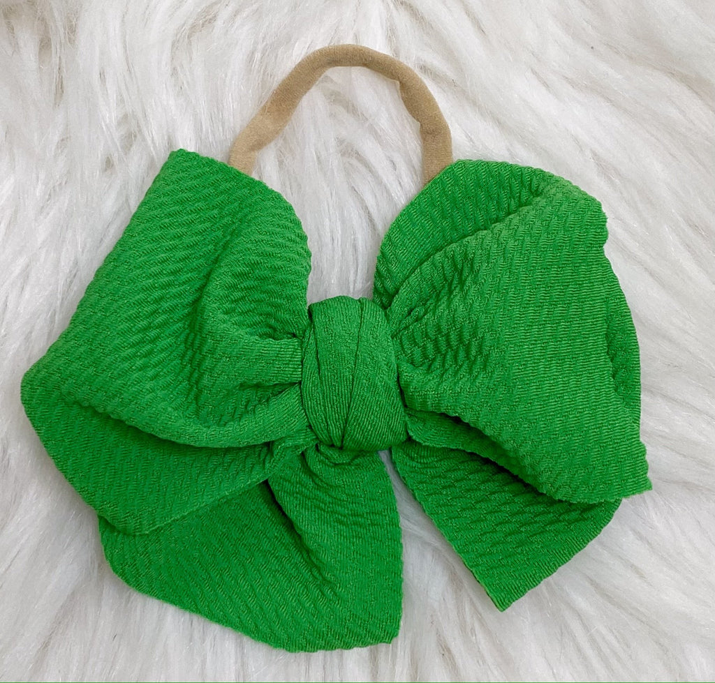 Green Nylon Baby Bow Headband - Nico Bella Boutique