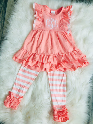Pink Stripe Monogram Set - Nico Bella Boutique