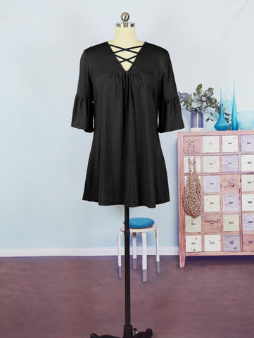 Black Criss Cross Bell Sleeve Tunic - Nico Bella Boutique