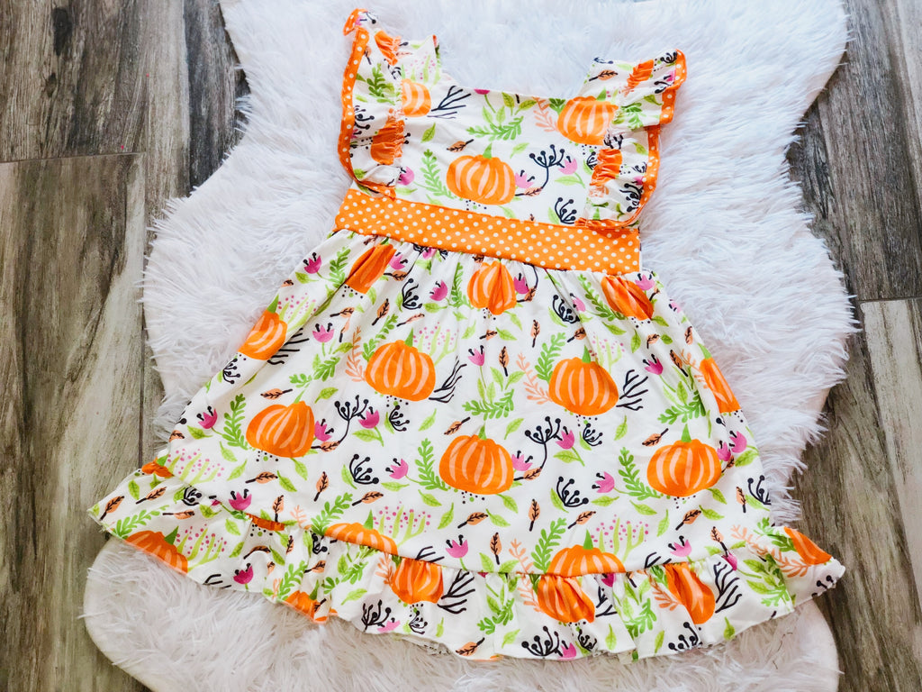 Pumpkin Ruffle Dress - Nico Bella Boutique