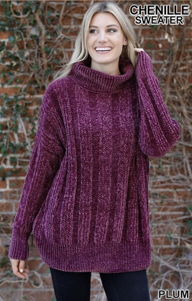 Women's Plum Over sized Cable Knit Chenille Sweater - Nico Bella Boutique