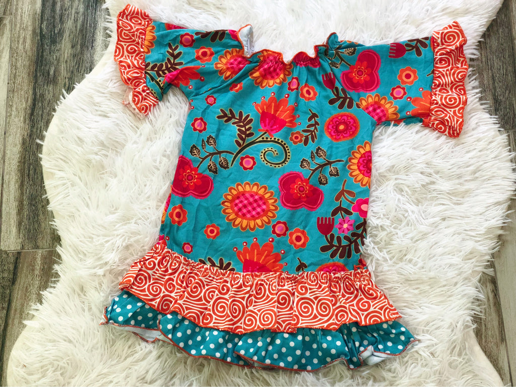 Turquoise Orange Smocked Dress - Nico Bella Boutique