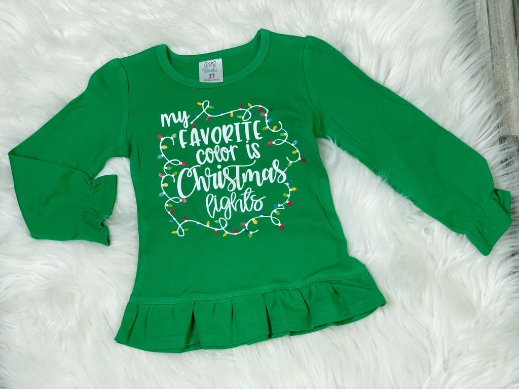 My Favorite Color is Christmas Lights Green Puff Ruffle Long Sleeve Shirt - Nico Bella Boutique