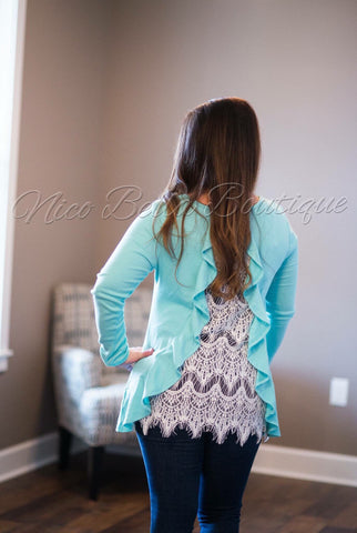 Aqua Crochet Ruffle Back Tunic - Nico Bella Boutique