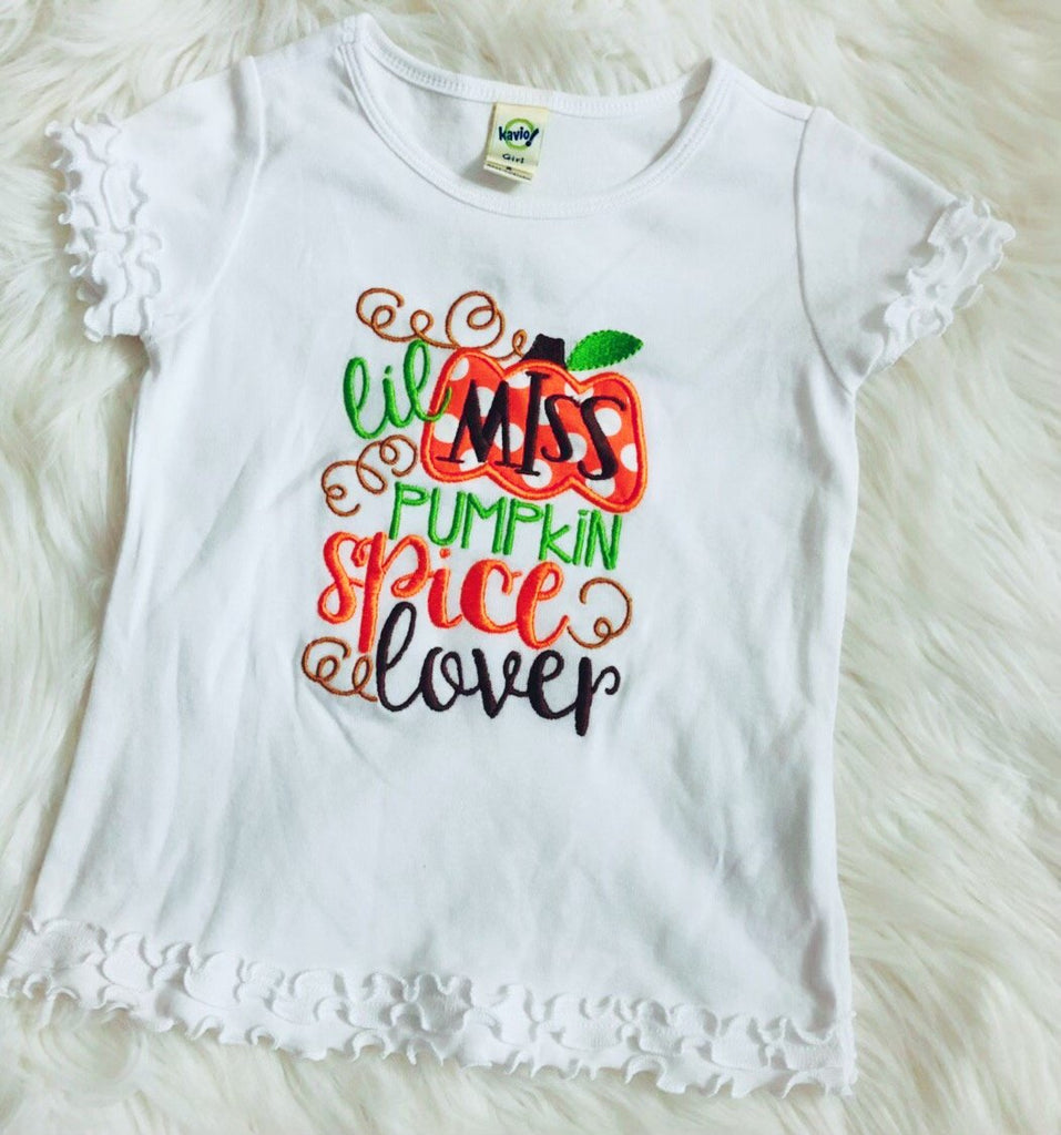 Lil Miss Pumpkin Spice Lover Embroidered Applique Shirt - Nico Bella Boutique