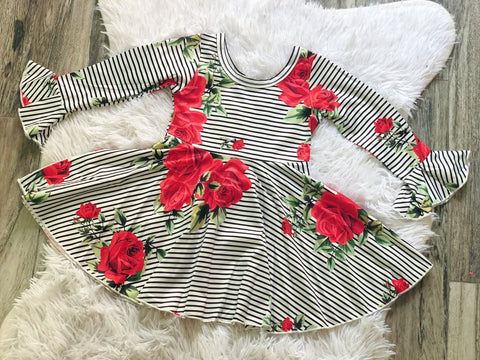 Red Rose Stripe Twirl Dress - Nico Bella Boutique