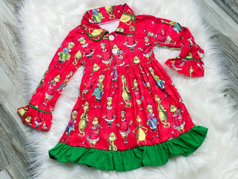 Grinch Pajama Gown - Nico Bella Boutique