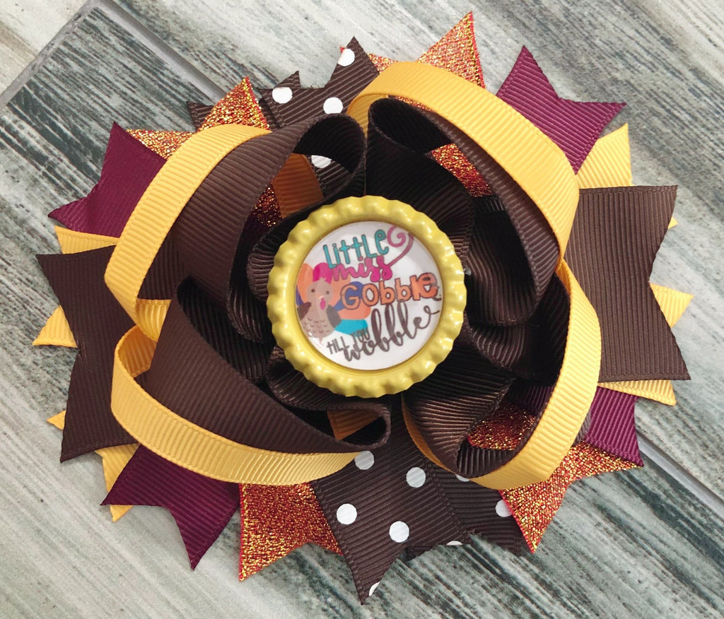 Little Miss Gobble Till You Wobble Hair Bow - Nico Bella Boutique