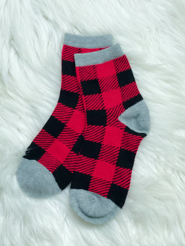 Buffalo Plaid Adult Socks - Nico Bella Boutique