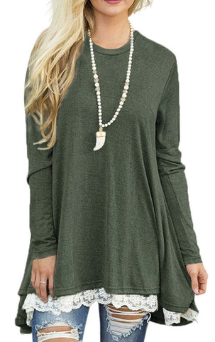 Green Lace Hem Long Sleeve Top - Nico Bella Boutique