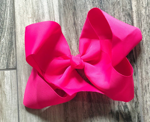 Hot Pink Girls Hair Bow - Nico Bella Boutique