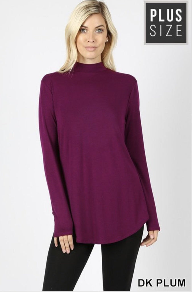 Women's Dark Plum Mock Neck Plus Size Top - Nico Bella Boutique