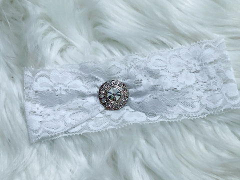 White Lace Rhinestone Center Headband - Nico Bella Boutique