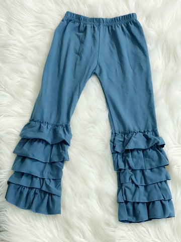 Slate Blue 5 Layer Ruffle Pants - Nico Bella Boutique
