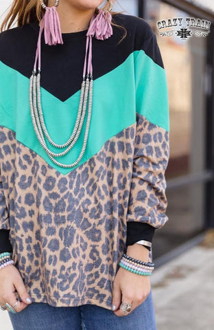 The Block Top Leopard Turquoise - Nico Bella Boutique