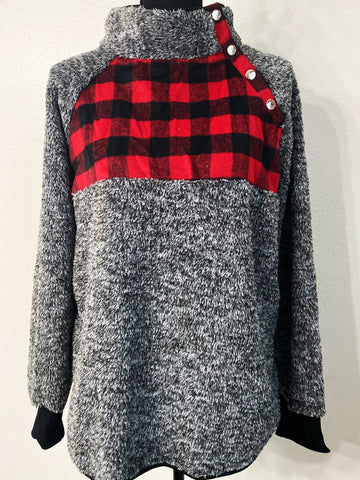 Women's Buffalo Plaid Quilted Sherpa Pullover