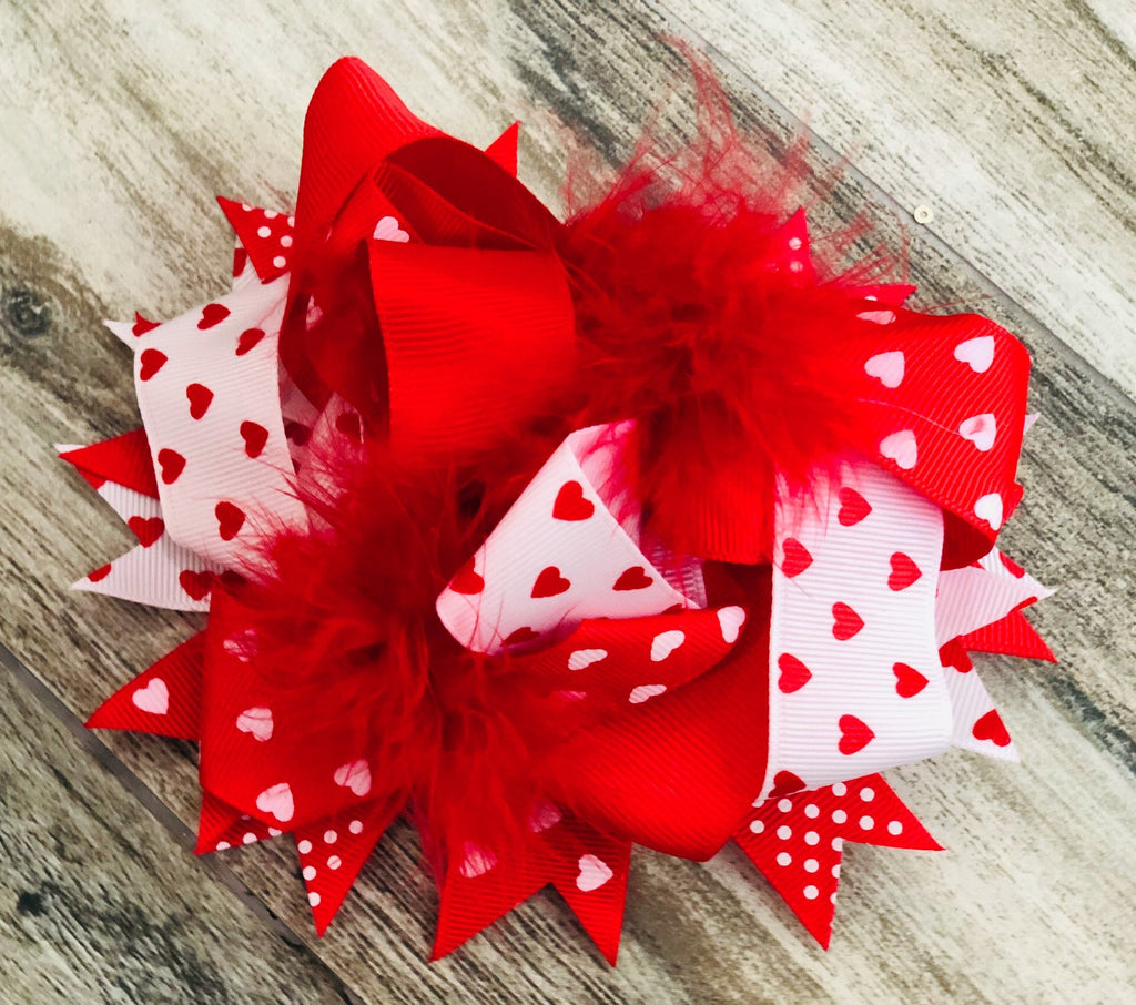 Red & White Heart Feather Bow - Nico Bella Boutique