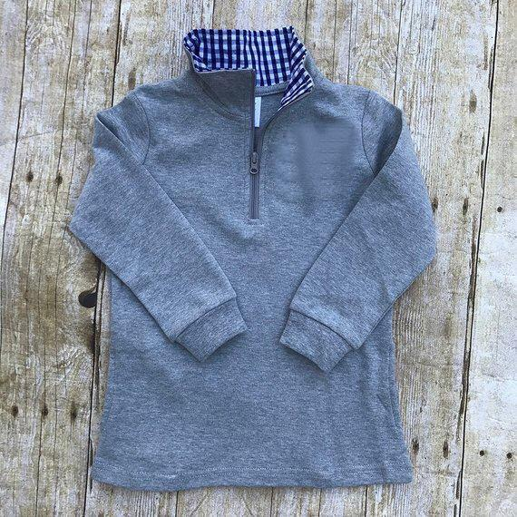 Boys Grey Gingham Accent Pullovers - Nico Bella Boutique