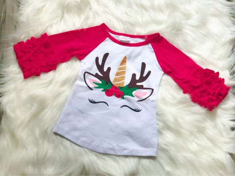 Unicorn Deer Christmas Icing Raglan - Nico Bella Boutique