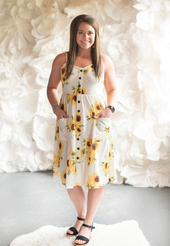 White Sunflower Sundress - Nico Bella Boutique