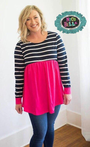 Women's Navy and Pink Striped Color Block Tunic - Nico Bella Boutique