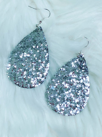Silver Glitter Teardrop Earrings - Nico Bella Boutique
