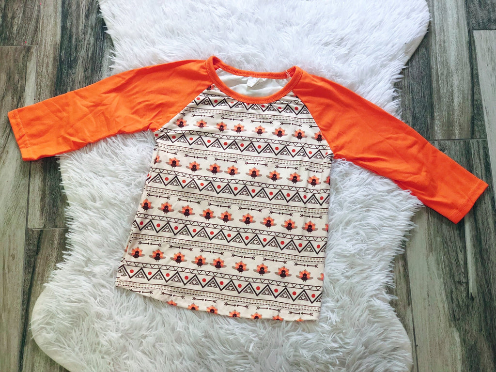 Aztec Turkey Raglan - Nico Bella Boutique