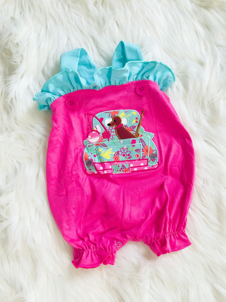 Hunting Fishing Applique Bubble Romper - Nico Bella Boutique