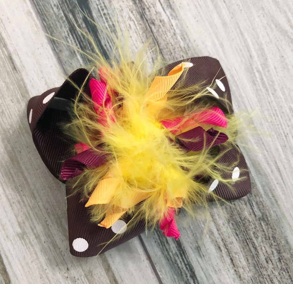Feather Cork Fall Bow - Nico Bella Boutique