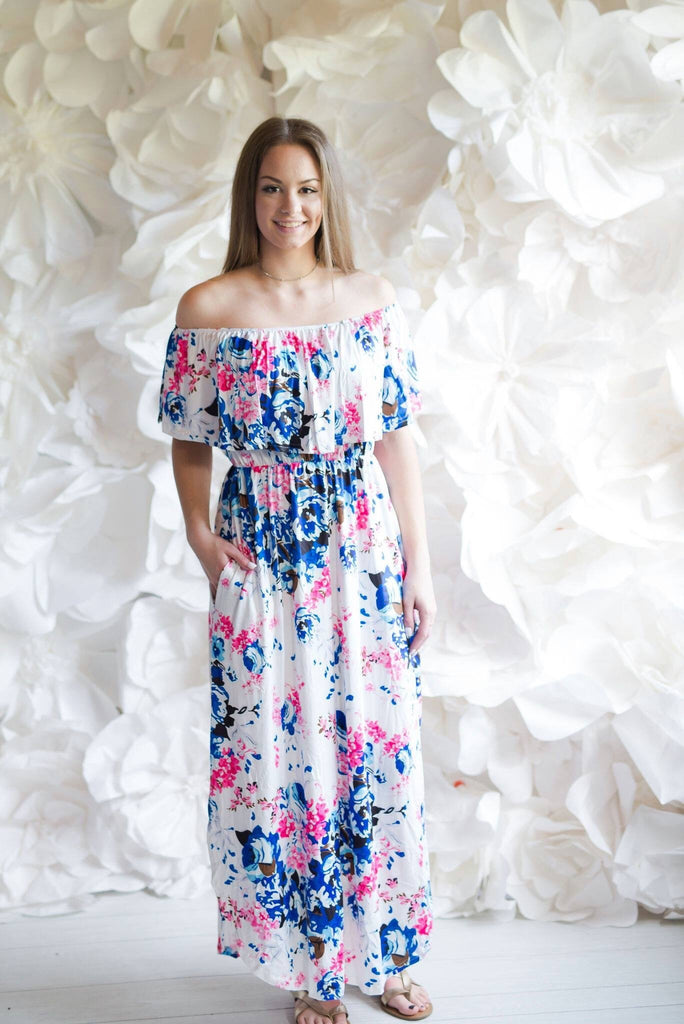 White Floral Off Shoulder Maxi Dress - Nico Bella Boutique