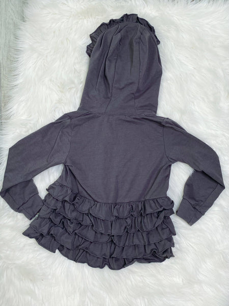 Embroidered Initial B - Grey Girls Ruffle Zip Up Hood Cardigans - Nico Bella Boutique