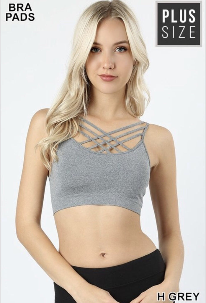 43f54469959 Plus Size Heather Grey Seamless Triple Criss-Cross Front Bralette ...