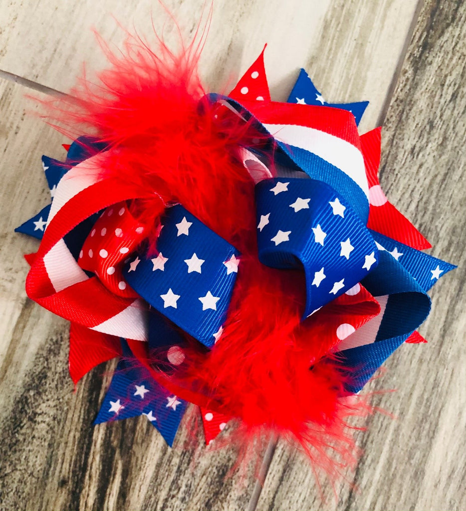 Stars & Stripes Feather Bow - Nico Bella Boutique