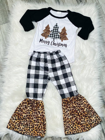 Merry Christmas White Buffalo Plaid Leopard Set