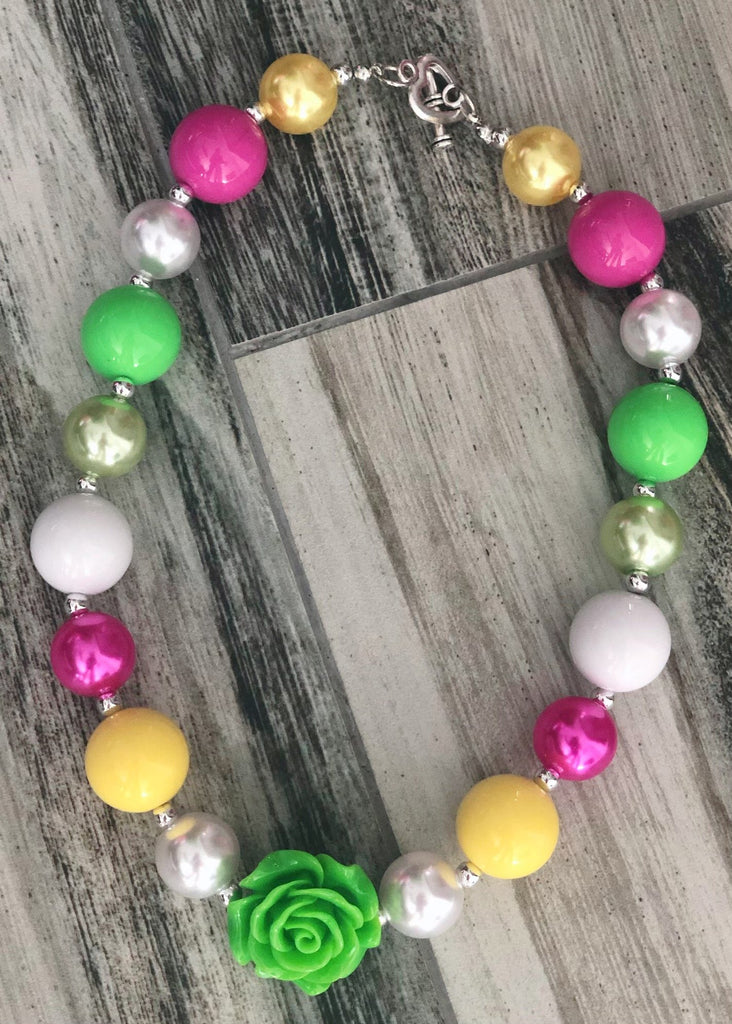Hot Pink and Lime Green Bubblegum Necklace - Nico Bella Boutique