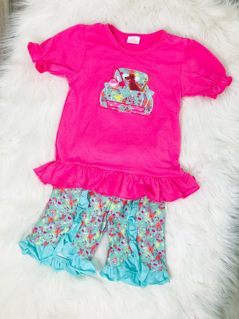 Hunting Fishing Applique Girls Short Set - Nico Bella Boutique