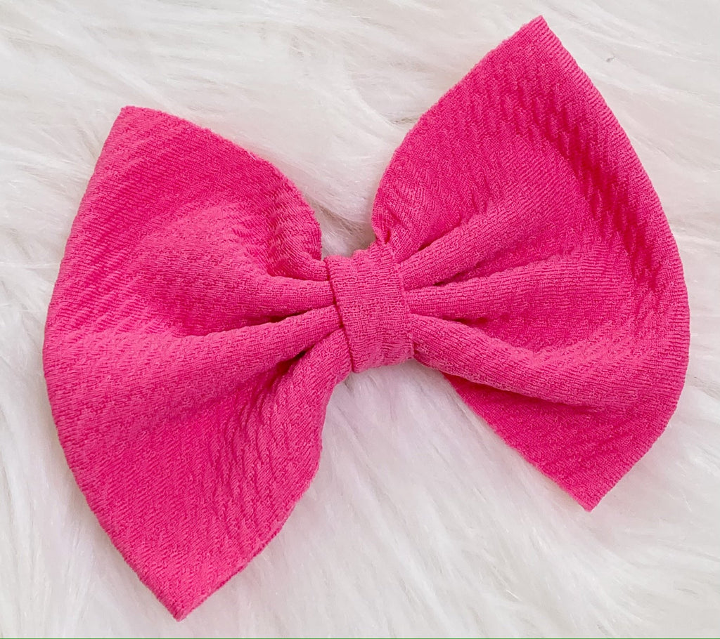 Hot Pink Nylon Bow Hair Clip - Nico Bella Boutique