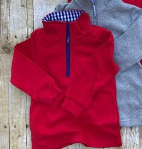 Boys Red Gingham Accent Pullovers - Nico Bella Boutique