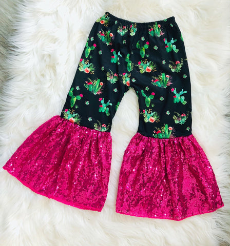 Cactus Sequin Girls Bells - Nico Bella Boutique