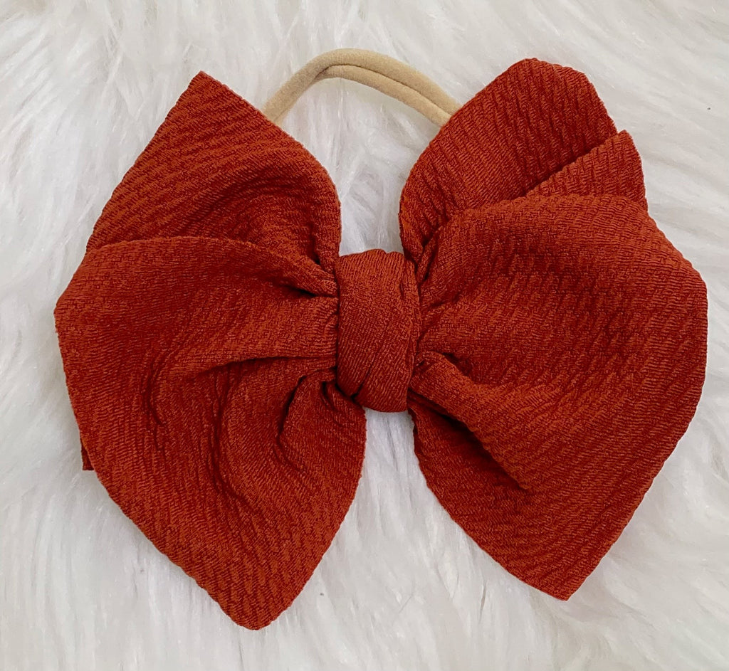 Cinnamon Nylon Baby Bow Headband - Nico Bella Boutique