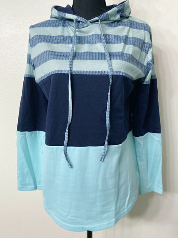 Aqua Color Block Stripe Womens Hoodie