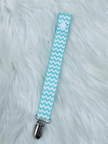 Aqua Chevron Ribbon Pacifier Clip - Nico Bella Boutique