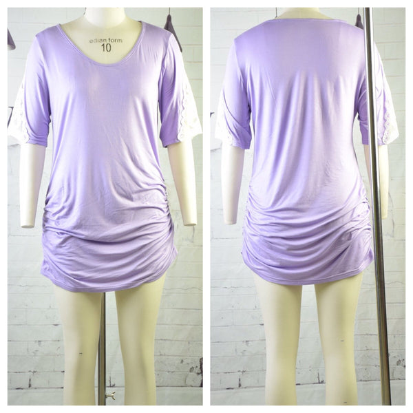 Lavender Side Lace Sleeve Tunic - Nico Bella Boutique