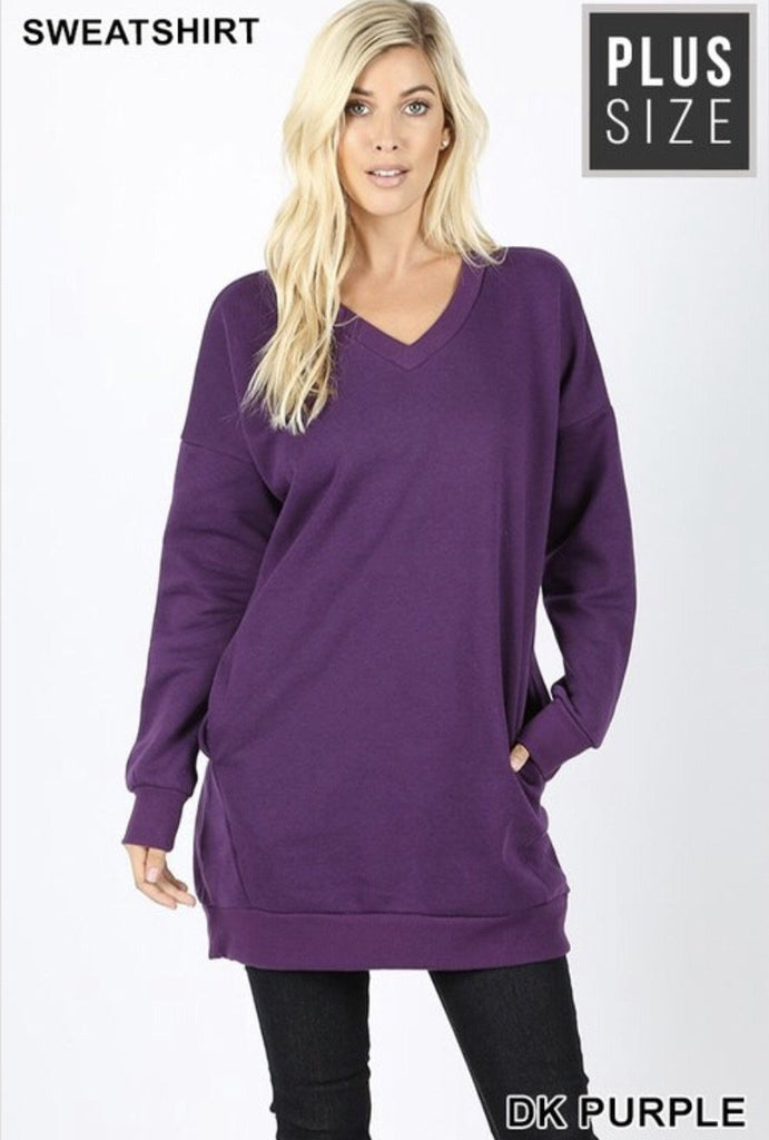 Plus Oversized Loose Fit V-Neck Tunic Sweatshirt Dark Purple - Nico Bella Boutique