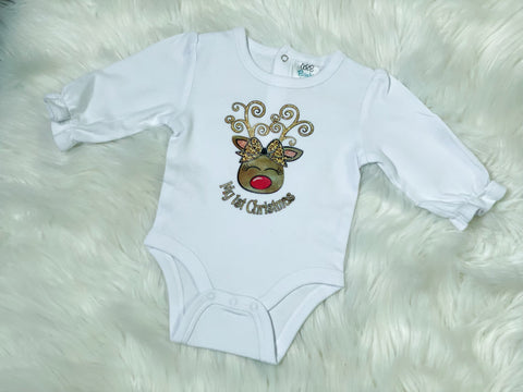 My First Christmas Reindeer Onesie - Nico Bella Boutique
