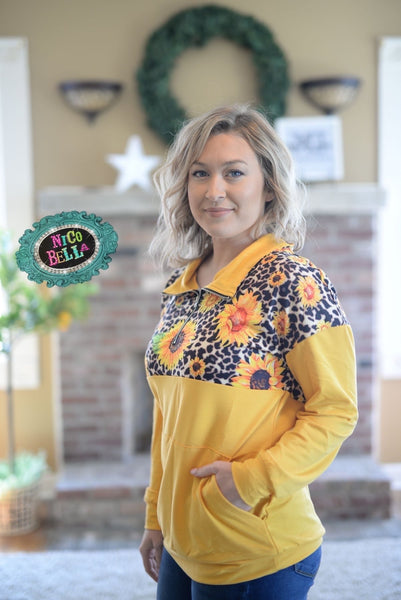 Leopard Sunflower Quarter Zip Up - Nico Bella Boutique