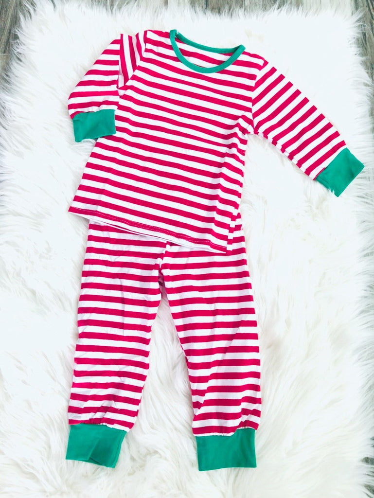 Red and White Stripe Christmas Pajamas - Nico Bella Boutique