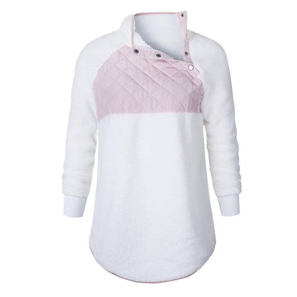 Women's Pink/White Quilted Sherpa Pullover - Nico Bella Boutique